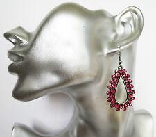 Sparkly Pink Crystal Dark Silver Tone Teardrop Hoop Dangle Earrings 6 cms drop
