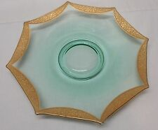Green Depression Glass Serving Plate with Gold Trim Vintage