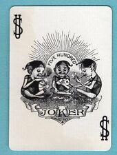 Single Swap Playing Card JOKER #G20 SMOKING ELVES PLAY FIVE HUNDRED VINTAGE OLD