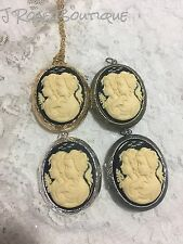 CAMEO PHOTO 925 SILVER PLT GOLD GENERATION CHILD TWIN LOCKET URN NECKLACE FAMILY