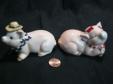 Laying Down Happy Country Pig Couple Salt and Pepper Shakers Ceramic        44