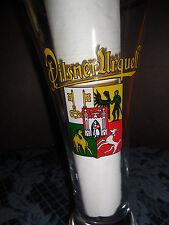 VINTAGE SOUVENIR  PILSNER  URQUELL/BEER  GLASS EUC TOP TRIMMED IN GOLD