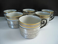 Italian Pewter Cup Holders w/ Porcelain Liners Monopoli Italy Set of 6 Vintage