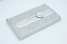 Silver Crystallized Bling Bling Automatic Business Card Holder