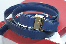 Salvatore Ferragamo Women's Navy Belt Reversible Size XL Oxford Blue Leather NWT