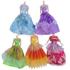 5Pcs Fashion Princess Party Dress Wedding Clothes/Gown For Barbie Doll Set Lots