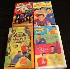 The WIggles Lot of 4 VHS Videos-Wiggly Movie, Safari, Party, & World- Ages 1-8