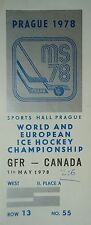TICKET Eishockey WM 1.5.1978 Deutschland - Canada in Prag