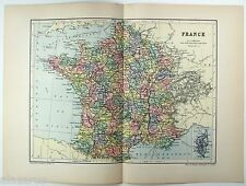 Rare Original 1894 Map of France by  W & A.K. Johnston