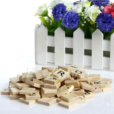 100 New Wooden Alphabet Scrabble Tiles Black Letters & Numbers For Crafts Wood