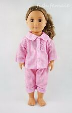 Pink Plaid Two-piece Pajamas Garment For 18'' American Girl Doll Clothes Gifts