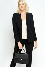 women's formal long mac black navy button pocket plus jacket blazer coat 10-26
