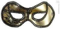 Gold Black Lace Eye Mask - Masquerade Ball Venetian Fancy Dress
