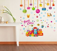 Christmas Ball Snowflake Colorful Wall Stickers Decals Removable Kids Decor Art