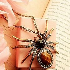 New Retro Bronze Crystal Rhinestone Spider Bead Charm Pendant for Necklace FE
