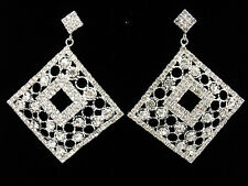 "2.8"" Square Wedding Bridal Dangle Drop Long Earrings Costume Jewel Crystal Clear"