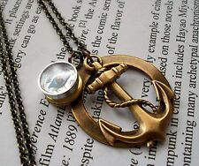 NAUTICAL working COMPASS Vintage Locket w/ Lrg ANCHOR Steampunk Pendant Necklace