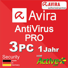 Avira Antivirus Pro 2016 3 PC Vollversion AntiVirus 1 Jahr NEU Deutsch-Lizenz
