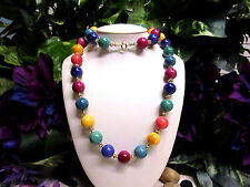 "Vintage Chunky Multi-Color Striped ""Gumball"" Lucite Beaded Necklace"