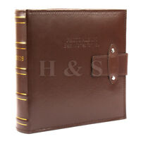 """6x4"""" 200 Photos Large PU Leather Slip in Photo Album Brown Vintage Memo Book --A"""