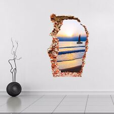 3D Broken Wall Beach Sea Wall Art Wall Stickers,Wall Decals AW_GUYG
