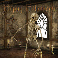 Happy Halloween Card girl boy scary skeleton spiders web in castle party invite