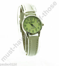 Ladies Watch, Easy Read Glow in The Dark Dial, White Leather Strap, By Mabz