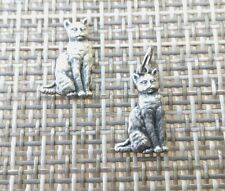 PET ANIMAL 2 KITTY CATS SET of 1 CHARM & 1 PIN in PEWTER ALL New