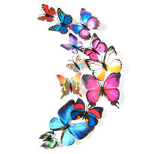 12pcs Colorful Pattern 3D Butterfly Art Design Decal Wall Stickers Fridge Magnet