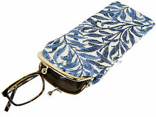 Signare Ladies Tapestry Metal Frame Kiss Clasp Glasses Case Pouch - Willow