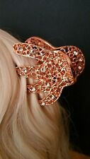 Karina French Couture Rose Gold Metal Rhinestone Hair Clip Stunningly Beautiful