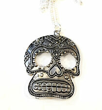 Sugar skull silver coloured pendant necklace 18 inch chain emo gothic