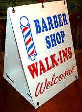 BARBER SHOP WALK-INS WELCOME  2-Sided  Sandwich Board Sign Kit NEW