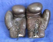 Vintage Russian Soviet USSR Leather Brown Boxing Gloves old school boxing 10 OZ