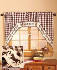 Swag-Style Country Gingham Western Cowboy Horse Kitchen Window Curtain Set Decor