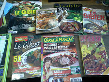 Lot de 7 livres et revues de recettes de gibier la cuisine de la chasse
