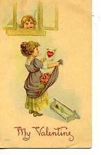 Cupid at Window-Girl w/ Flower Gift-Vintage Drawing-Valentine Greeting Postcard