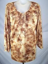 Yellow Brown Animal Print Long Sleeve Top Womens Plus Size 4X 26W 28W