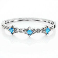 4.25ctw Sky Blue & White Topaz, 14k White Gold Filled Bangle Bracelet