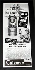 1944 OLD WWII MAGAZINE PRINT AD, COLEMAN POCKET STOVE, USED BY ARMED SERVICES!
