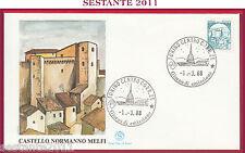 ITALIA FDC FILAGRANO CASTELLO D'ITALIA NORMANNO MELFI ANNULLO TORINO 1988 Z178