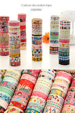 Bulk 10 pcs Sticky Adhesive Sticker Decorative Washi Tape Colorful DIY 1.5cm*3m