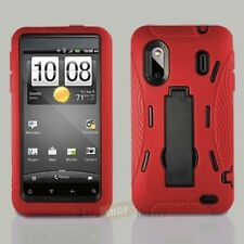 HTC Hero S Evo Design 4G Impact Hard Rubber Case Cover with Kickstand Red Black