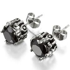 Stainless Steel Black 10mm Round Cut Hypoallergenic Men'sWomen's Stud Earrings