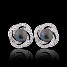 Black pearl stud!18K White Gold filled round party Swarovski crystal earring