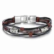 Men's Retro Tribal Leather Bracelet Wristband Wrap Multistrand Brown Black, US