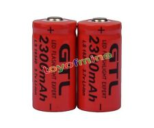 2x 3.7V CR123A 123A CR123 16340 2300mAh Red GTL Rechargeable Battery Cell USA