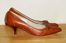 "Women's Brown Leather ANN TAYLOR Heels 2"" Size 6 M GREAT Condition"