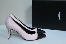 New sz 8 / 38 Saint Laurent Classic Paris Pink Leather Point Cap Toe Pump Shoes