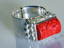 Sajen Sterling Silver Red Carved Cinnabar Ring Size 8